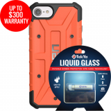 Apple iPhone 8/7 Double Advantage Bundle TekYa Liquid Glass with UAG Pathfinder Rust Orange