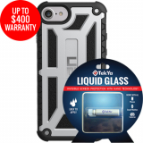 Apple iPhone 8/7 Double Advantage Bundle TekYa Liquid Glass with UAG Monarch - Platinum