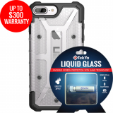 Apple iPhone 8+/7+ Double Advantage Bundle TekYa Liquid Glass with UAG Plasma- Clear