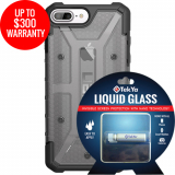 Apple iPhone 8+/7+ Double Advantage Bundle TekYa Liquid Glass with UAG Plasma- Smoke