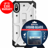 Apple iPhone Xs/X Double Advantage Bundle Tekya Liquid Glass with UAG Pathfinder - White