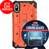 Apple iPhone Xs/X Double Advantage Bundle Tekya Liquid Glass with UAG Pathfinder - Rust Orange