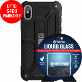 Apple iPhone Xs/X Double Advantage Bundle Tekya Liquid Glass with UAG Monarch - Carbon Fiber