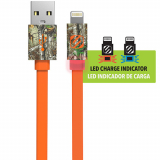 "Scosche FlatOUT LED Apple Lightning 36"" Data/Sync/Charge Flat Cable -Orange/Real Tree"