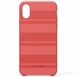 Apple iPhone X PureGear SoftTek Case - Deep Coral Stripes