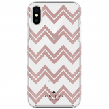 Apple iPhone X Kate Spade New York Protective Hardshell Case - Chevron Rose Gold Glitter