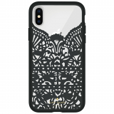 Apple iPhone X Kate Spade New York Lace Cage Case - Lace Hummingbird Black/Clear