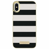 Apple iPhone X Kate Spade New York Inlay Wrap Case - Saffiano Black and White Stripe