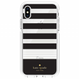 Apple iPhone Xs/X Kate Spade New York Defensive Hardshell Case - Stripe 2 Black/White/Clear