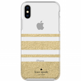 Apple iPhone Xs Max Kate Spade New York Protective Hardshell Case Charlotte Stripe Gold