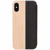 Apple iPhone Xs/X Woodcessories EcoFlip Case - Maple/Leather
