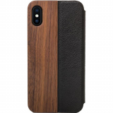 Apple iPhone Xs Max Woodcessories EcoFlip Case - Walnut/Leather