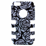 Apple iPhone 5c Rocker Series Snap - Black/Silver Roses