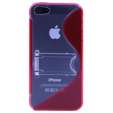 Apple iPhone 5/5s/SE TekYa TPU Shield With Kickstand - Red/Clear