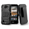 LG K3 Beyond Cell Shell Case Armor Kombo with Kickstand - Black/Black