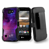 LG K3 Beyond Cell Shell Case Armor Kombo with Kickstand - Galaxy Stars