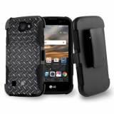 LG K3 Beyond Cell Shell Case Armor Kombo with Kickstand -  Black Diamond Plate Steel
