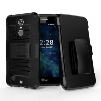 LG K8 2017 Beyond Cell Shell Case Armor Kombo with Kickstand - Black/Black