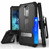 LG K8 2017 Beyond Cell Tri Shield Kombo Case - Black/Black