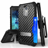 LG K8 2017 Beyond Cell Tri Shield Kombo Case - Carbon Fiber