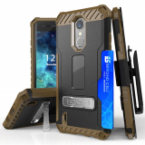 LG K8 2017 Beyond Cell Tri Shield Kombo Case - Black/Tan