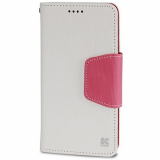 Motorola Moto X (2nd Gen) Beyond Cell Infolio Leather Case - White/Pink