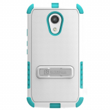 Motorola Moto G 2nd Generation Beyond Cell Tri Shield Case - White/Light Blue