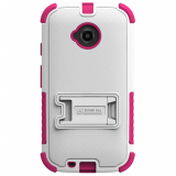 Motorola Moto E (2nd Gen) Beyond Cell Tri Shield Case - White/Hot Pink
