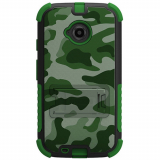 Motorola Moto E (2nd Gen) Beyond Cell Tri Shield Case - Green Camouflage
