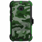 Motorola Moto E (2nd Gen) Beyond Cell Tri Shield Kombo Case - Green Camouflage