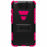 Motorola Droid Maxx XT1080 Beyond Cell Tri Shield Case - Black/Hot Pink