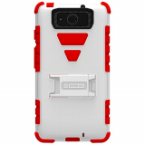 Motorola Droid Maxx XT1080 Beyond Cell Tri Shield Case - White/Red