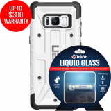 Samsung Galaxy S8 Double Advantage Bundle Tekya Liquid Glass with UAG Pathfinder- White