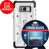Samsung Galaxy S8+ Double Advantage Bundle Tekya Liquid Glass with UAG Pathfinder- White