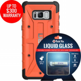 Samsung Galaxy S8+ Double Advantage Bundle Tekya Liquid Glass with UAG Pathfinder-Rust Orange