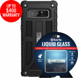Samsung Galaxy Note 8 Double Advantage Bundle TekYa Liquid Glass with UAG Monarch- Black
