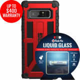 Samsung Galaxy Note 8 Double Advantage Bundle TekYa Liquid Glass with UAG Monarch- Crimson