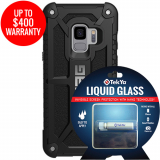 Samsung Galaxy S9 Double Advantage Bundle TekYa Liquid Glass with UAG Monarch- Black