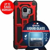 Samsung Galaxy S9 Double Advantage Bundle TekYa Liquid Glass with UAG Monarch- Crimson