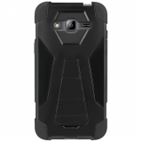 Samsung Galaxy J3 Beyond Cell Shell Case Hyber 2 Series Case - Black/Black