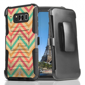 Samsung Galaxy S8 Beyond Cell Shell Case Armor Kombo with Kickstand - Pastel Chevron