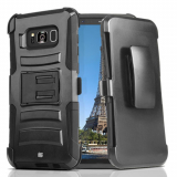 Samsung Galaxy S8+ Beyond Cell Shell Case Armor Kombo with Kickstand - Black/Black