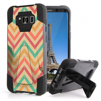 Samsung Galaxy S8+ Beyond Cell Shell Case Hyber 2 Series Case - Pastel Chevron