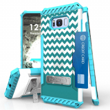 Samsung Galaxy S8 Beyond Cell Tri Shield Case - Teal Chevron