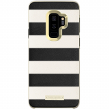 Samsung Galaxy S9+ Kate Spade New York Inlay Wrap Case - Saffiano Black and White Stripe