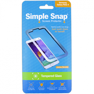 Samsung Galaxy Note 4 Simple Snap Screen Protector - Tempered Glass