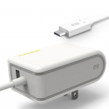 PureGear 4.8 Amp USB-C Corded AC Travel Charger - White