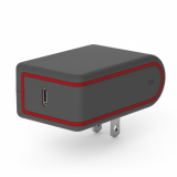 PureGear 25W Power Delivery 3.0 USB-C Travel Charger Head - Gray/Red