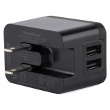 Griffin Suvivor Rugged PowerBlock 2.4 Amp Dual Port USB AC Travel Charger Head - Black