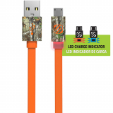 "Scosche FlatOUT LED Micro USB 36"" Data/Sync/Charge Flat Cable - Orange/Real Tree"